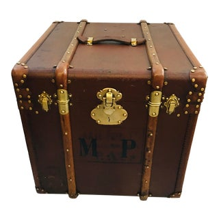 1940s Vintage Canvas Wood Leather Trunk For Sale