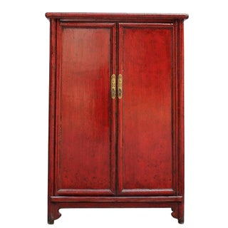 Asian Modern China Red Cabinet For Sale