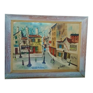 Original Paris Street Scene Painting by Charles De Montfort Circa 1960's For Sale