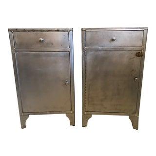 Vintage Industrial Steel Metal Cabinets, 1930s - A Pair