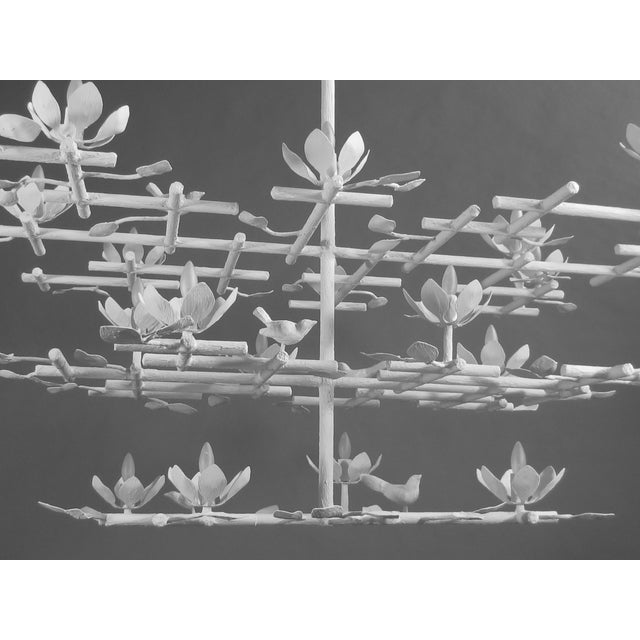 3 Layer Garden Plaster Chandelier With White Finish For Sale - Image 4 of 7