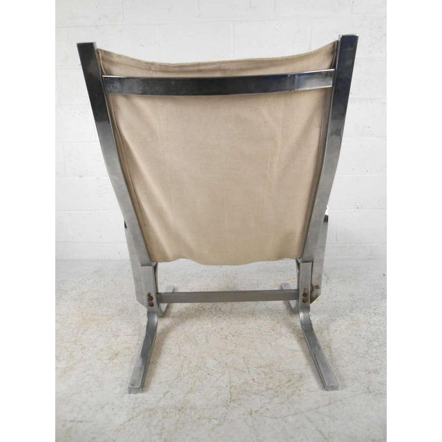 Mid-Century Modern Mid-Century Modern Ingmar Relling Style Sling Lounge Chair and Ottoman For Sale - Image 3 of 10