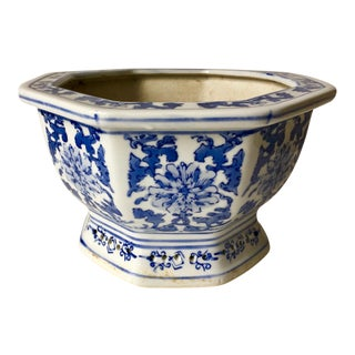 Vintage Chinese Canton Blue & White Cachepot