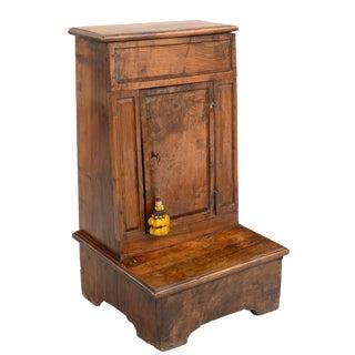17th Century Antique Italian Solid Walnut Kneeler With Locking Door For Sale