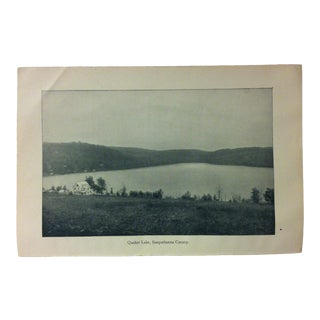 "Vintage Print of an American Lake, ""Quaker Lake - Susquehanna County"", Circa 1930 For Sale"