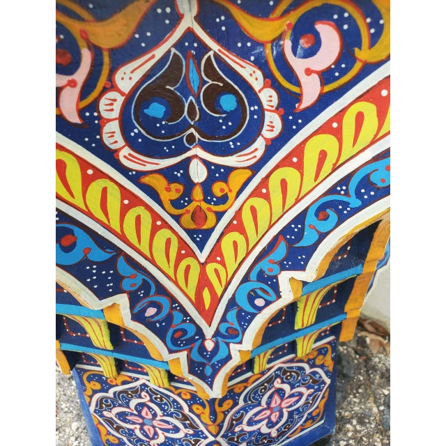 Moroccan Sm Ceuta 2 Painted and Carved Star Table, Multi-Color For Sale In Orlando - Image 6 of 8