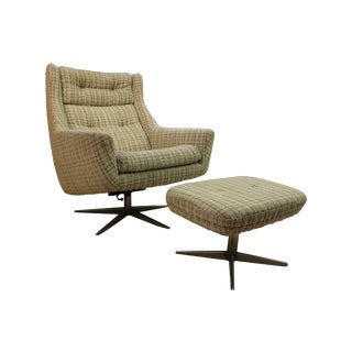 Mid-Century John Stuart Upholstered Chair Ottoman For Sale