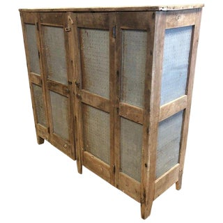 Storage Cabinet Amish Meat Safe With Original Square Nail Hardware, Late 1800s For Sale