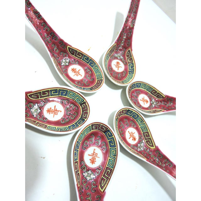 Mid 20th Century 20th Century Chinese Red Rice Spoons - Set of 6, Late Republic Period For Sale - Image 5 of 9