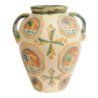Pisa Italy Glazed Terracotta Ceramic Pottery Vase