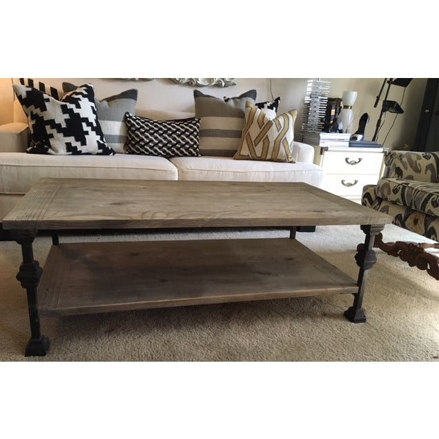 Rustic Gray Wash Wood & Iron Coffee Table For Sale - Image 5 of 5