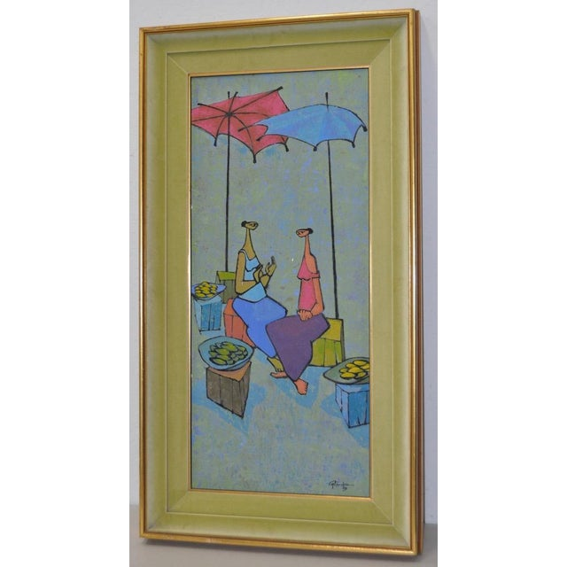 Gray Mid-Century Modern Oil Painting by G. Richardson C.1959 For Sale - Image 8 of 8