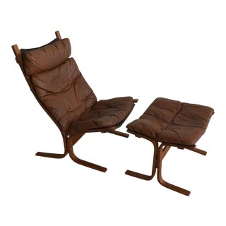 """1960s Vintage Ingmar Relling for Westnofa """"Siesta High"""" Lounge Chair & Ottoman - 2 Pieces"""