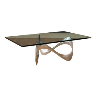 Vintage Sculptural Aluminum and Glass Coffee Table by Knut Hesterberg For Sale
