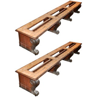 Late 19th Century Oak Renaissance Revival Benches - A Pair For Sale