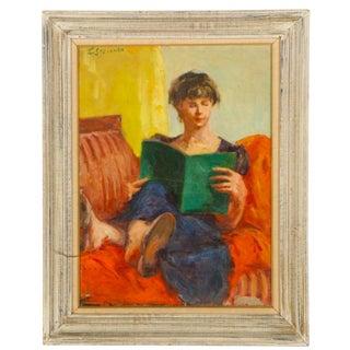 1960s Vintage Edward Steichen Style Oil Portrait Painting For Sale