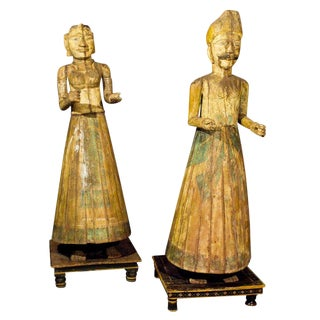 19th Century Pair of Life Sized Asian Carved Figures on Painted Stands For Sale