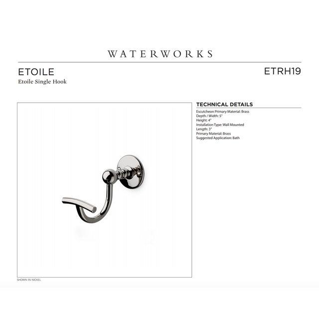 "Waterworks ""Etoile"" Unlacquered Brass Single Hook - Image 3 of 11"