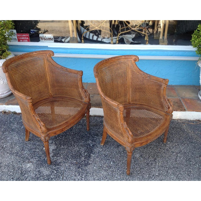 Pair of Louis XVI Style Armchairs For Sale - Image 4 of 13