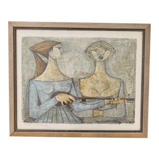"""Mid 20th Century """"The Duet"""" Italian Figurative Lithograph After Frederico Righi, Framed For Sale"""