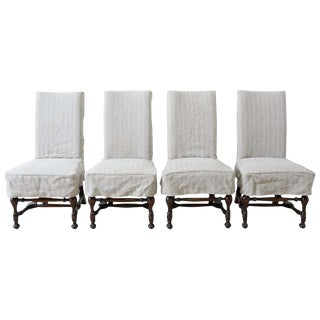 Set of Four English Style Walnut Slipcover Dining Chairs For Sale