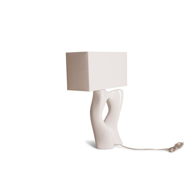 Wood Amorph Vesta White Lacquered Table Lamp For Sale - Image 7 of 10
