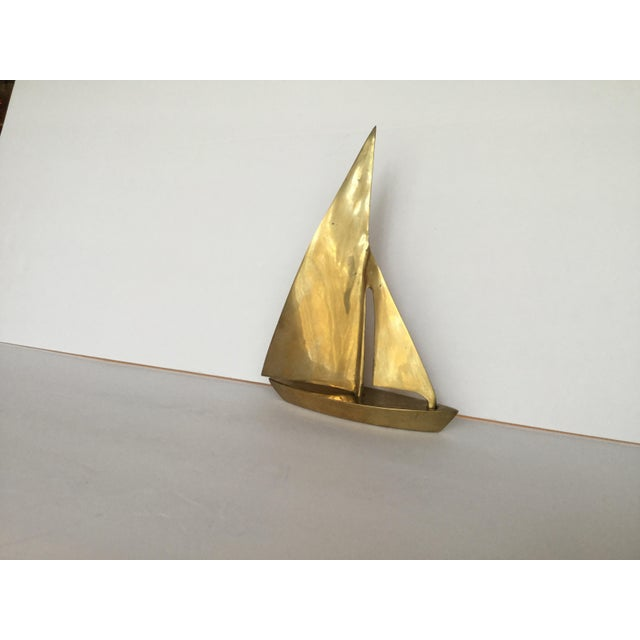 1970s Traditional Brass Sailboat Figurine For Sale - Image 11 of 13