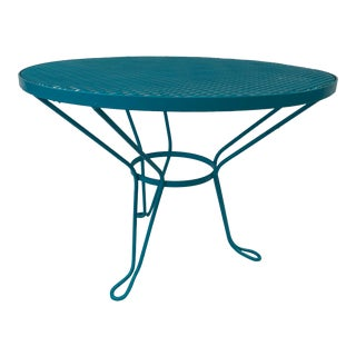 1960s Mid Century Modern Round Teal Mesh Coffee Table For Sale