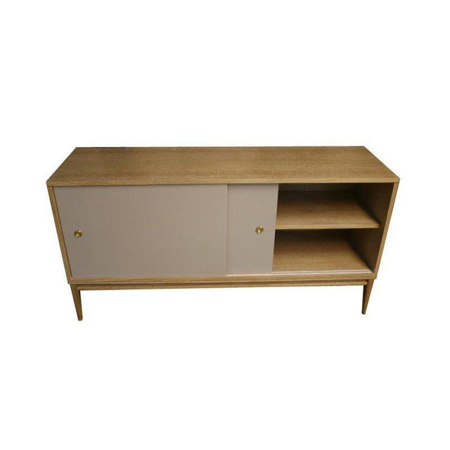 Brass Customizable Bishop Lacquered Linen Door Console For Sale - Image 7 of 10