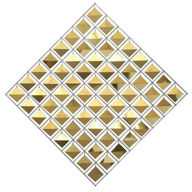 Curtis Jere Brass Diamond Kinetic Wall Sculpture For Sale - Image 9 of 9