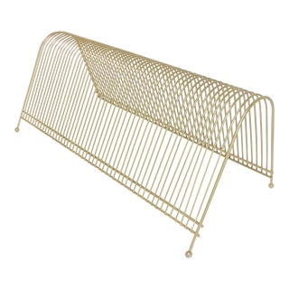 Mid Century Modern Gold Wire Record Album Rack For Sale
