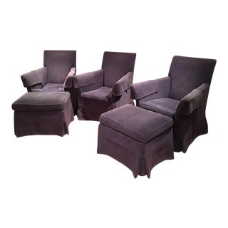 Rose Tarlow Eaton Armchairs & Ottomans - Set of 5 For Sale