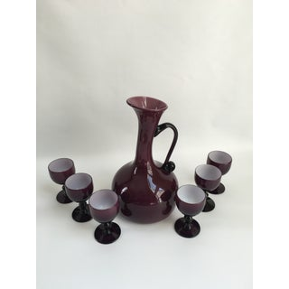Mid-Century Italian Empoli Decanter Matched With Encased Glasses - Set of 7 Preview