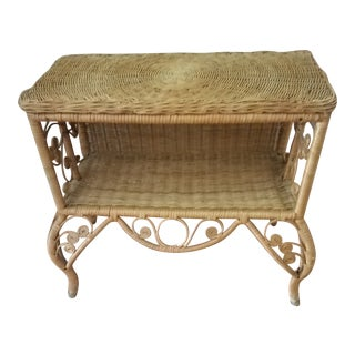 1900s Boho Chic Wicker and Cane Accent Table For Sale