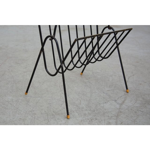 Carl Aubock Style Black Wire Magazine Rack - Image 7 of 9