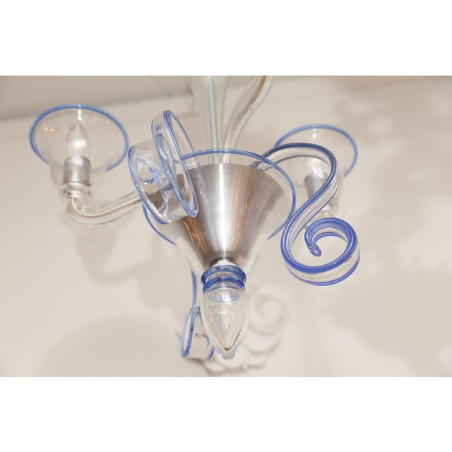 1960s Three-Arm Clear Glass Murano Chandelier For Sale - Image 5 of 9