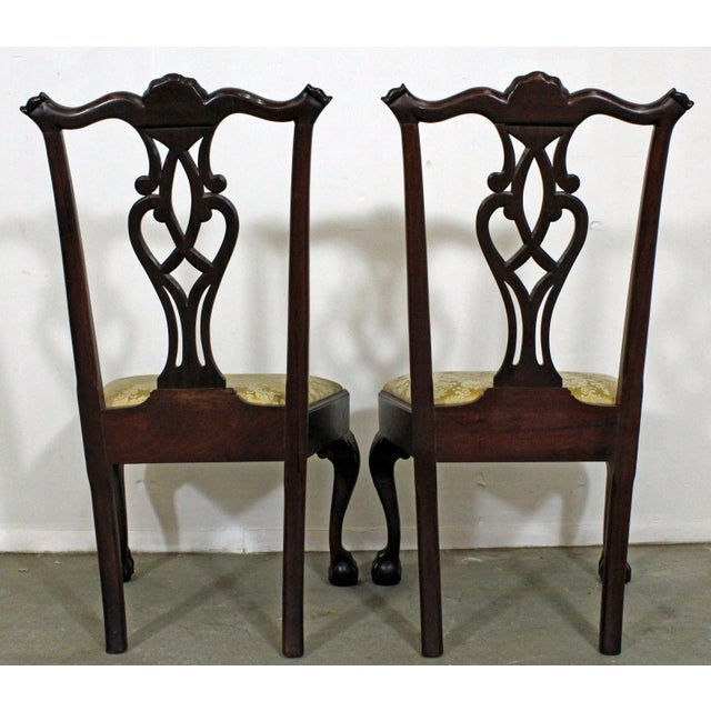 Pair of Chippendale Ball & Claw Mahogany Dining Chairs For Sale - Image 4 of 13