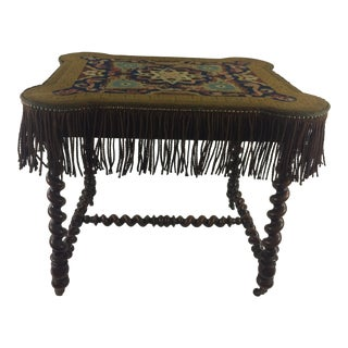 Napoleon III Barley Twist Game Table with Original Grospoint and Fringe