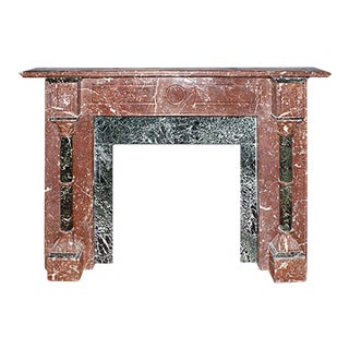 1865-1870 Traditional Carved Polychrome Red Green and Black Marble Mantel For Sale