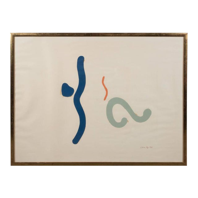 Mid-Century William Pye Abstract Collage in Shades of Blue and Orange, 1967 For Sale