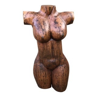 Mid-Century Nude Woman Wood Sculpture For Sale