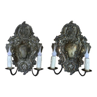 Antique Embossed Baroque Brass Wall Sconces - a Pair For Sale