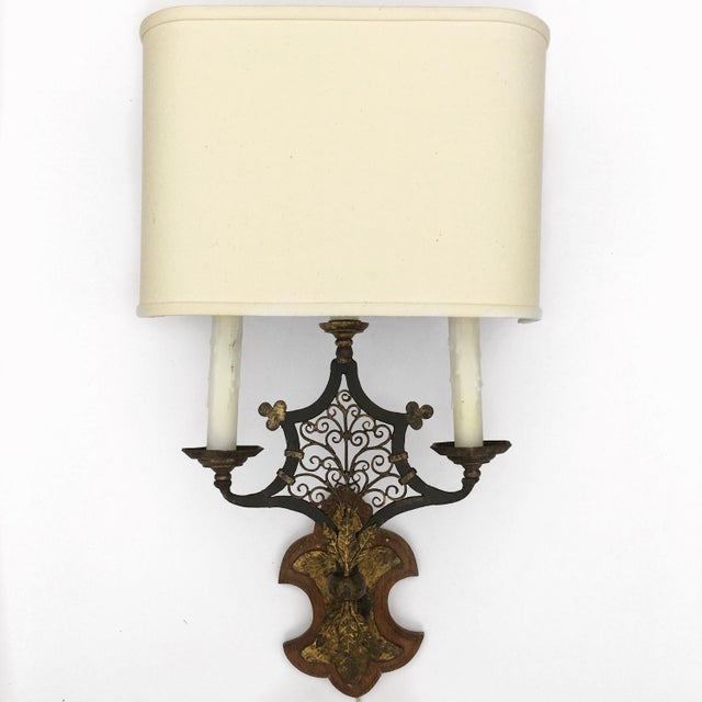 Wood & Metal Sconces - A Pair - Image 2 of 5