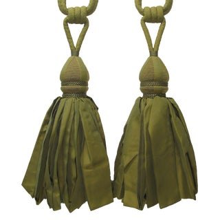 Very Large Green Tassels, Pair For Sale