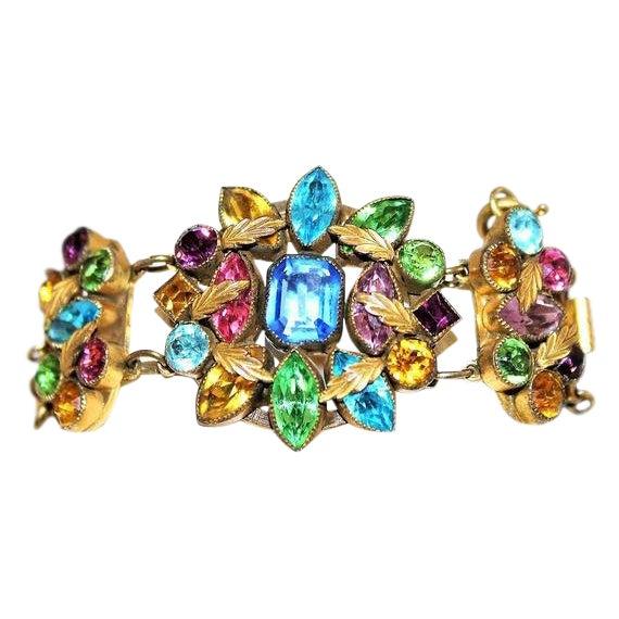 Czech Multicolor Faceted Stone Bracelet For Sale