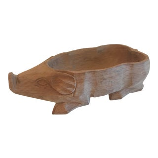 Vintage Hand Carved Pig Container For Sale