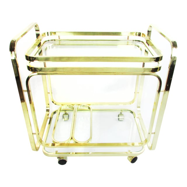 Milo Baughman Brass Bar Cart - Image 1 of 7