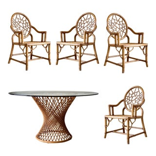 Vintage McGuire Style Bamboo Cracked Ice Dining Set – 5 Pieces For Sale