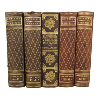 Art Deco Leather-Bound Books - Set of 5