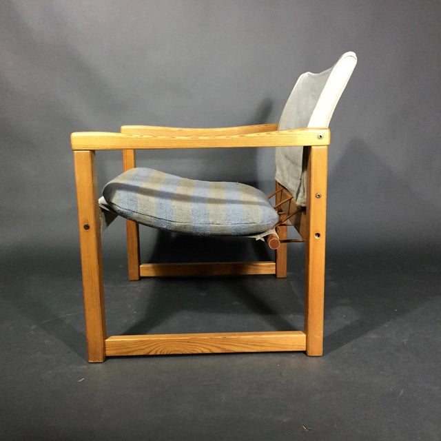 "Mid-Century Modern Karin Mobring ""Diana"" Armchair, Pine & Canvas, Sweden 1970s For Sale - Image 3 of 12"